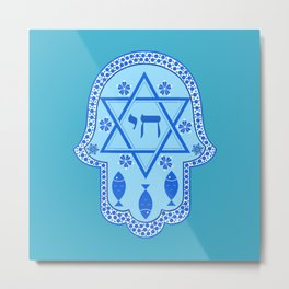 Hamsa for blessings, protection and strength - Turquoise Metal Print