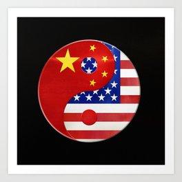 American-Chinese Yin and Yang Art Print