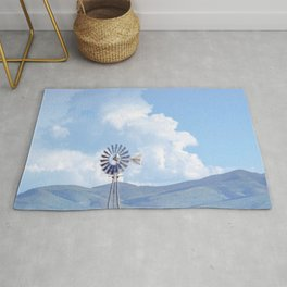 """Blue Windmill Blue Sky"" by Murray Bolesta Rug"