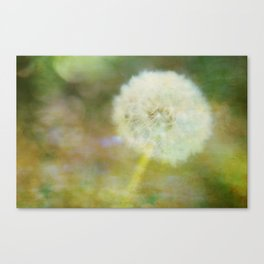 Dandelion Wishes Yellow Canvas Print