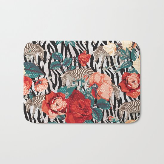 Pattern flowers-animals Bath Mat