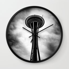 Space Needle Black and white Wall Clock