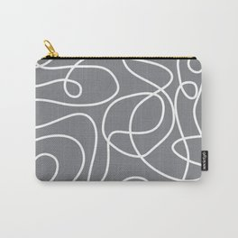 Doodle Line Art | White Lines on Gray Carry-All Pouch