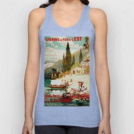 Switzerland and Italy Via St. Gotthard Travel Poster Unisex Tank Top