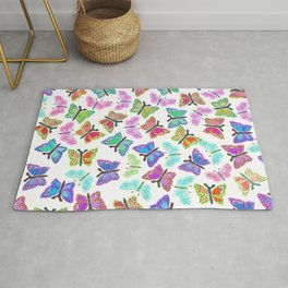 Artistic multicolor watercolor hand painted butterfly Rug