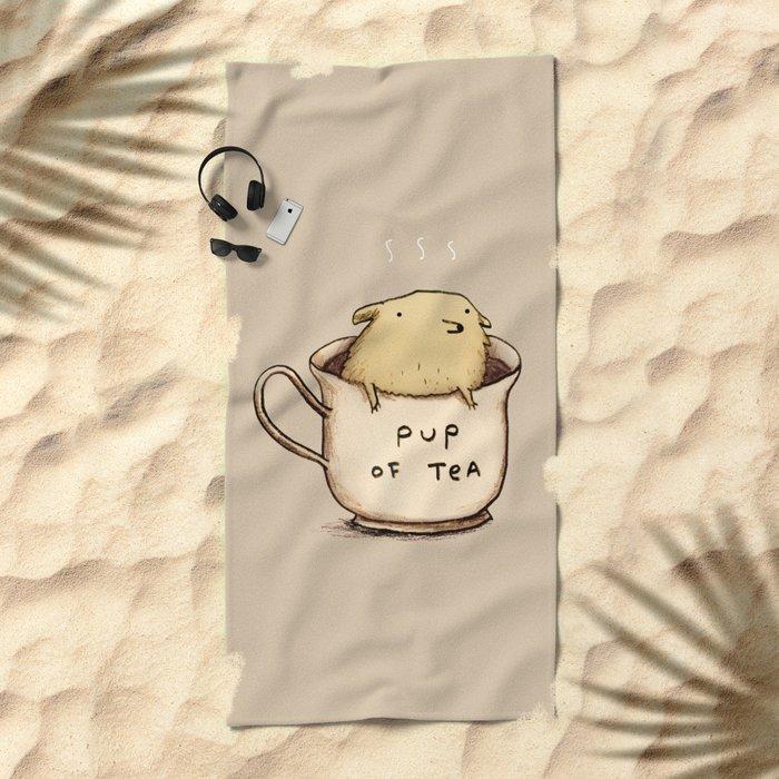 Pup of Tea Beach Towel
