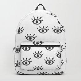Hand drawn black white watercolor eye pattern Backpack