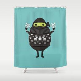 NINJACADO IN HOLIDAY SWEATER Shower Curtain