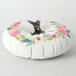 miniature pinscher floral wreath dog breed pet portrait pure breed dog lovers Floor Pillow
