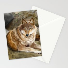 Wolf by the Riverbed Stationery Cards