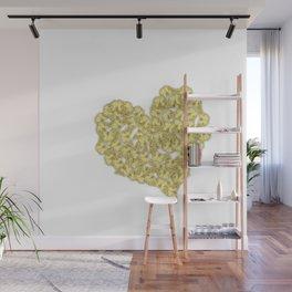 Gold butterflies in heart shape on white Wall Mural
