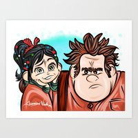 wreck it ralph Art Prints featuring Wreck It Ralph & Vanellope by Art In The Garage