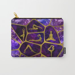 Yoga Asanas in gold on Amethyst Voronoi diagram Carry-All Pouch