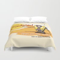 borderlands Duvet Covers featuring Visit Pandora! by Andy Hunt