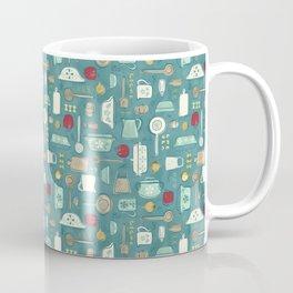 Vintage Kitchen Utensils / Teal Coffee Mug
