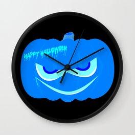 Evil Blue Halloween Pumpkin Wall Clock