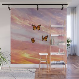 Butterfly Sunset Aesthetic Wall Mural