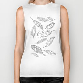 Feather Leaves in Black White Biker Tank