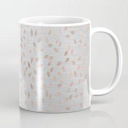 Falling Leaves in Rose Gold on Grey Coffee Mug