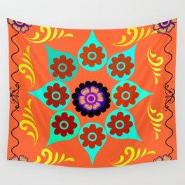Talavera Tile Orange Wall Tapestry