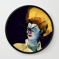 wasted rita Wall Clocks featuring Rita by Alvaro Tapia Hidalgo