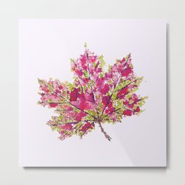 Pretty Colorful Watercolor Autumn Leaf Metal Print