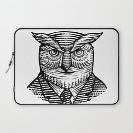 Hipster Owl Suit Woodcut Laptop Sleeve