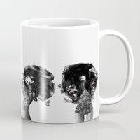 lions Mugs featuring Lions And Bears Party by Jenny Liz Rome