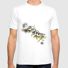 Two Birds MEDIUM White Mens Fitted Tee
