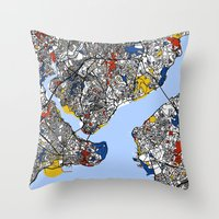 istanbul Throw Pillows featuring Istanbul by Mondrian Maps