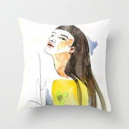 long hair fashion girl Throw Pillow