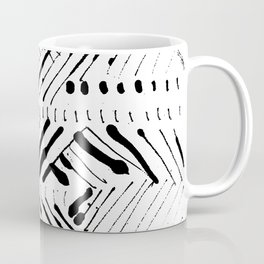 Black and White Ink Abstract Mark Making Pattern Coffee Mug
