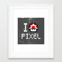 pixel art Framed Art Prints featuring Pixel by eARTh