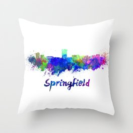 Springfield MO skyline in watercolor Throw Pillow