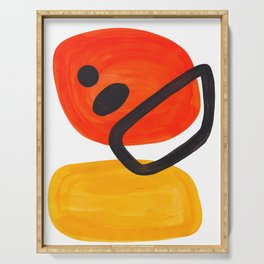 Midcentury Modern Colorful Abstract Pop Art Space Age Fun Bright Orange Yellow Colors Minimalist Serving Tray