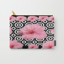 Black-Wite Contemporary Pink Cherry Blossoms Art Design. Carry-All Pouch
