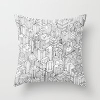 city Throw Pillows featuring Isometric Urbanism pt.1 by Herds of Birds