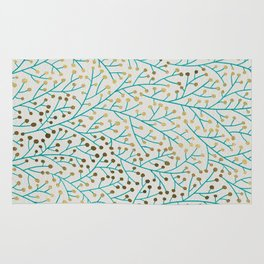 Berry Branches – Turquoise & Gold Rug