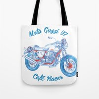 cafe racer Tote Bags featuring moto guzzi - cafe racer by dareba