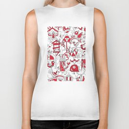 Birdhouse (black, white and red) Biker Tank
