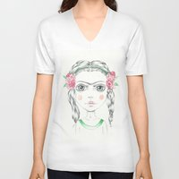 frida kahlo V-neck T-shirts featuring frida kahlo by Lisa Bulpin