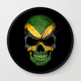 Dark Skull with Flag of Jamaica Wall Clock