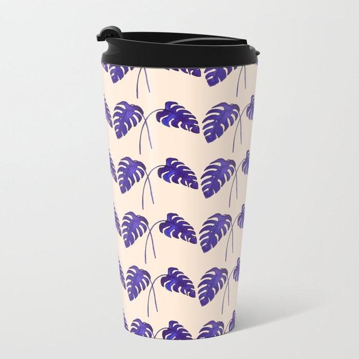 Indigo Monstera Leaf Watercolor on Blush Travel Mug