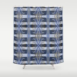 Feathery Indigo Antiqued Boho Geometric Print Shower Curtain
