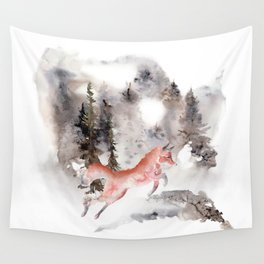 Fox Gamboling In The Mountain Mist Wall Tapestry