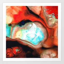 Red Abstract Modern Art - Cocoon - Sharon Cummings Art Print