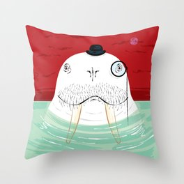 Sir Wilfred Wallace, The Wonderful Walrus Throw Pillow