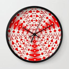 Star White And Red Geometric Shape Kaleidoscope Wall Clock