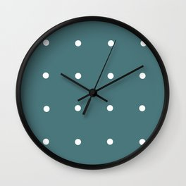 Retro Matted Green with White Dots Wall Clock