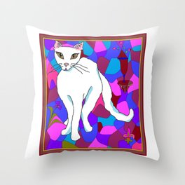 Pretty White Kitty in the Window - Stained Window Throw Pillow